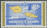 Samoa SG260 6d 'Independence 1962' Map of Samoa with Kava Bowl watermark